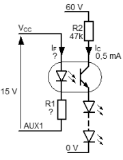 Diagram for the calculation of the optocoupler