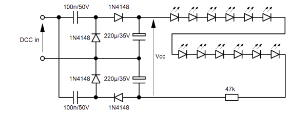 Diagram of the by-four voltage multiplier