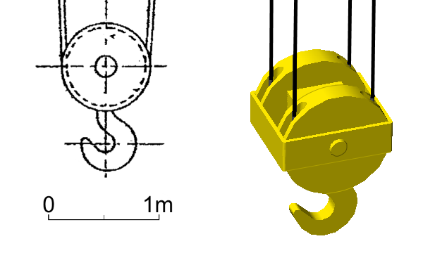 Drawings of the pulley block