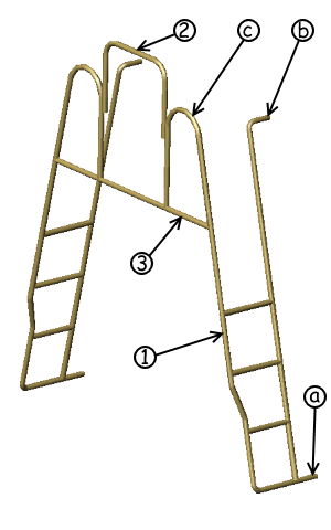 3D study of ladders