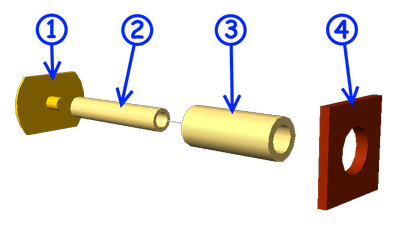 Exploded view of a buffer