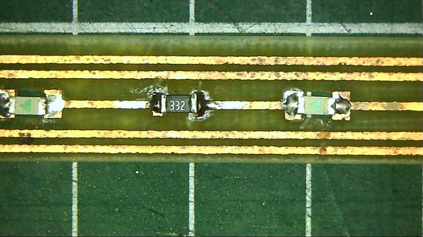 View of a PCB with SMD