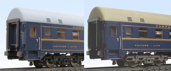 Comparison between UH sleeping car without / with painted bogies